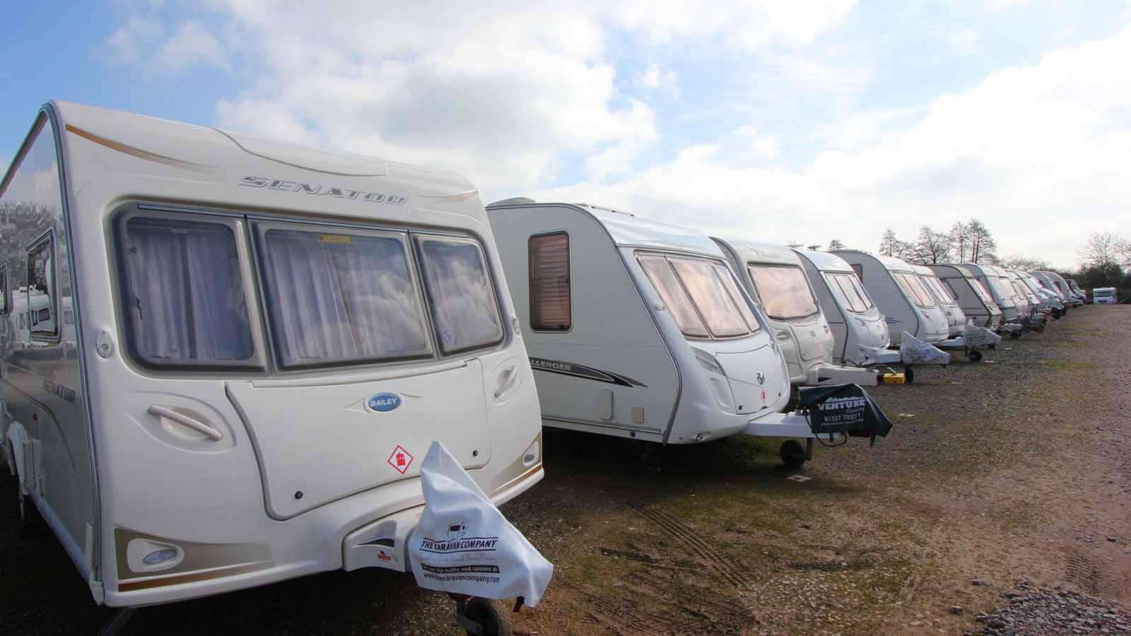 Caravans in caravan storage facility.